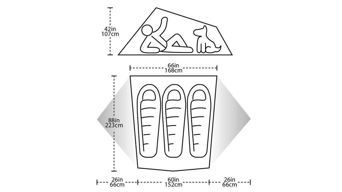 Big Agnes Tiger Wall3 measurements